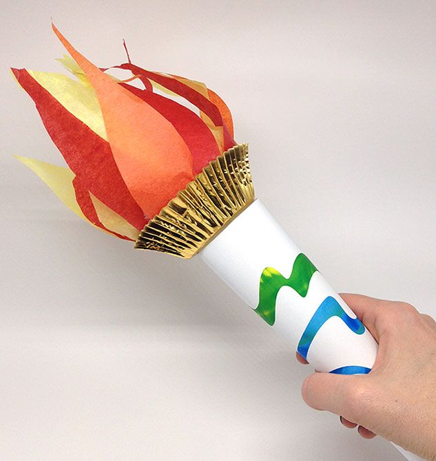Celebrate the Summer Olympic Games with a printable DIY torch craft.
