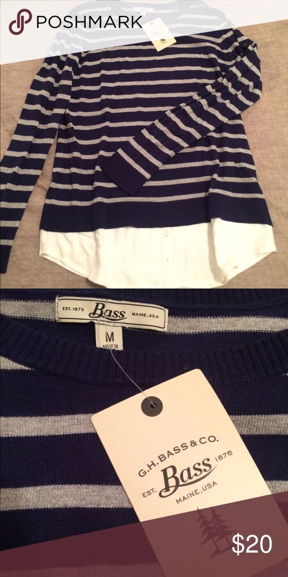 GH Bass striped sweater Cute crewneck sweater with faux button down hem. G.H. Bass Sweaters Crew & Scoop Necks