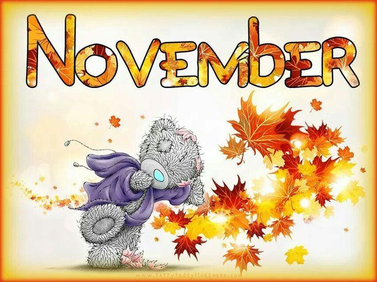 teddy november tatty hello bear bears clip fall cute happy week tjn halloween days month quotes autumn arts sweet friends