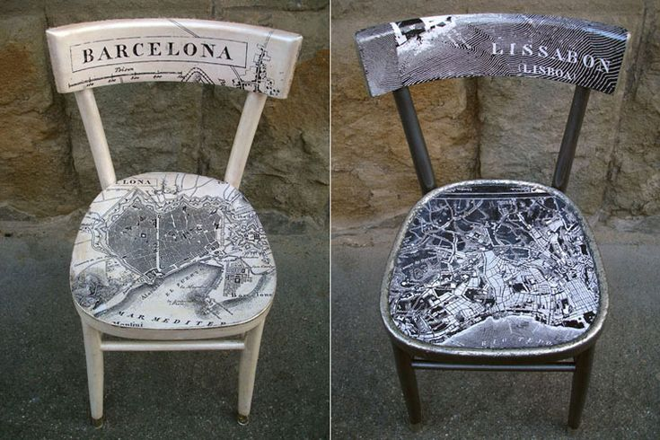 Map chairs by Naomi Muirhead. I would have so many chairs in my apartment if I did this for cities I love.