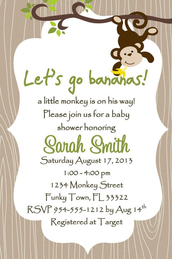 Monkey Baby Shower Invitation Template 4x6 Boy Party Baby Shower