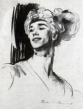 Nijinsky in 1911,  by John Singer Sargent for Nikolai Tcherepnin's ballet Le Pavillion d'Armide