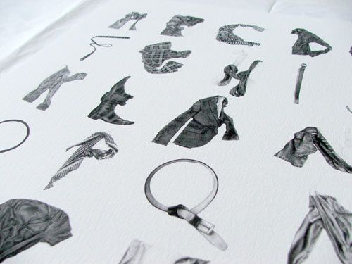 Artist Stuart Whitton has designed an alphabet created from drawings of wrinkled clothing.