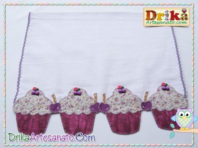 Patchwork moldes cupcake com cereja em patch aplique | Drika Artesanato - O seu Blog de Artesanato.