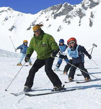Ski class on the slopes
