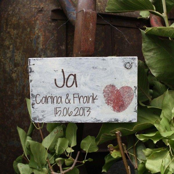 Shabby Chic Holzschild - Hochzeits-ShabbySchild JA
