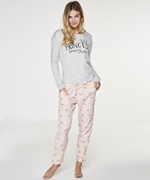 11b50d1ffe9eb2 Hunkemöller Damen Top Sweet Crown 119785 Grau XL: - pyjama pyjamas frauen  unterwäsche pyjamas womens