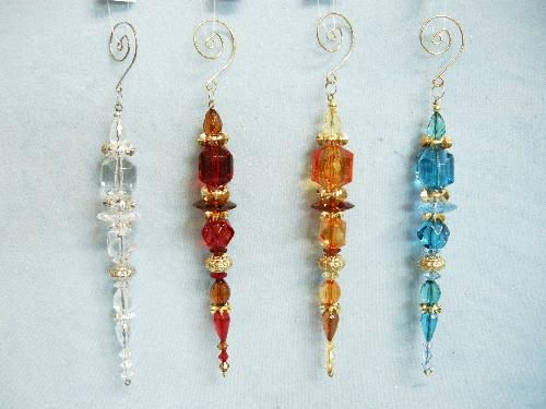 Beaded icicles with a curled wire hanger - pic for inspiration, no tutorial