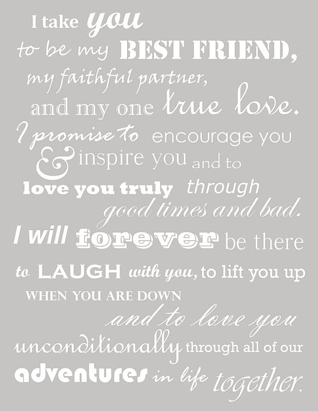 """""""I take you to be my best friend, my faithful partner, and my one true love. I promise to encourage you & inspire you and to love you truly through good times and bad. I will forever be there to laugh with you, to lift you up when you are down, and to love you unconditionally through all of our adventures in life together."""" #quote #lovequote"""