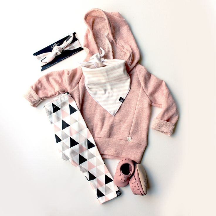 VONBON Blush Triangle organic cotton leggings with Rose Stripe bib bandana and headband. Childhoods hoodie, Minimoc Moccasins.