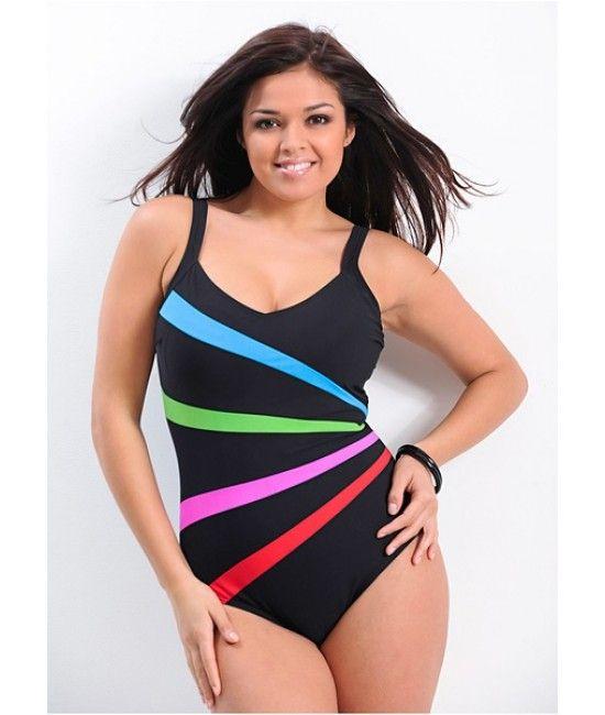 Haine XXL: Costum de baie modelator negru cu imprimeu colorat