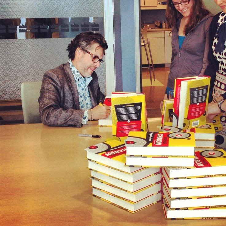 Michael Chabon signing copies of Telegraph Avenue for #HCC Staff! #Chabon #TelegraphAvenue #books #Pulitzer #Instagram