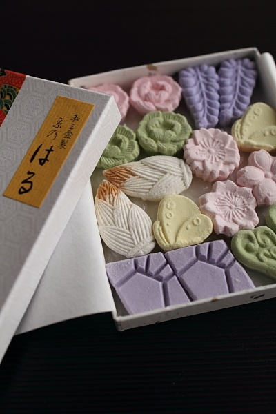 Higashi ~ is dry confectionery, made of flours from either rice, soybean azuki, or green pea and starches. Higashi are often served at Japanese tea ceremonies.