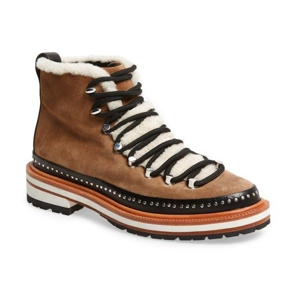 Women's Rag & Bone Compass Combat Boot (441.215 CLP) ❤ liked on Polyvore featuring shoes, boots, camel, combat booties, combat boots, polish shoes, studded military boots and shiny combat boots