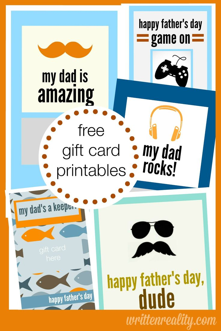 5 FREE Gift Card Printables for Father's Day {writtenreality.com} #Father'sDay #printables