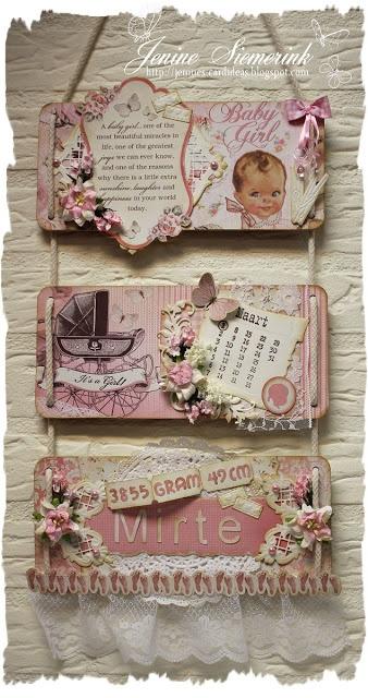 From Jenine Siemerink Langenhof in Wierden, Overijssel, Netherlands. Jenine's Card Ideas: Ophangbord geboorte Mirte