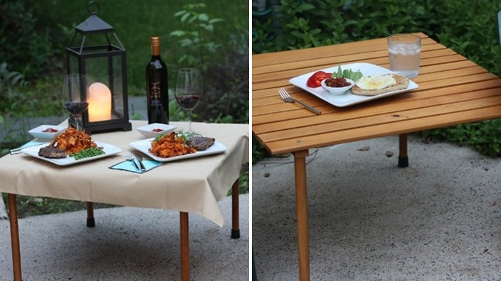 Portable Picnic Table. The legs unscrew from the table and it all rolls together to go in a nice canvas bag that's easy to carry on one shoulder.
