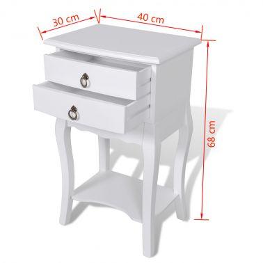 Table de chevet 2 tiroirs en blanche[5/5]