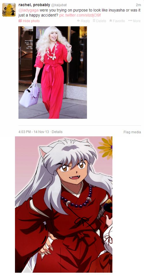 Lady Gaga's accidental Inuyasha cosplay