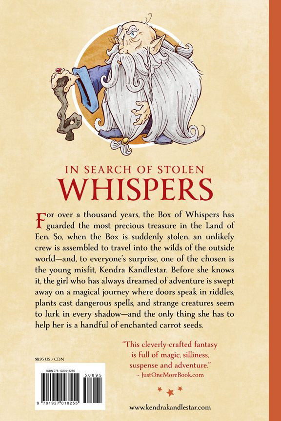 Back cover: Kendra Kandlestar and the Box of Whispers  (Book 1 ~ The Chronicles of Kendra Kandlestar)