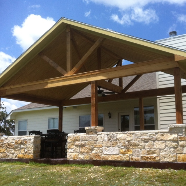 191 Best Covered Patios Images On Pinterest: Our Finished Cedar/rock Patio Cover