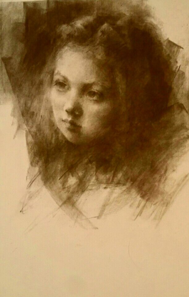 """Girl Child"" Conte Drawing, By Bonita Roberts"