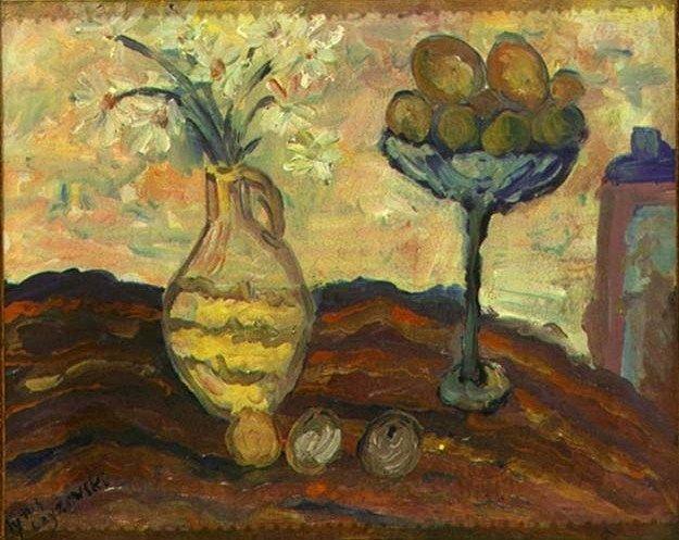 """Tytus Czyżewski """"Martwa natura z morelami"""", olej na płótnie, 42 x 51,5 cm, własność prywatna"""