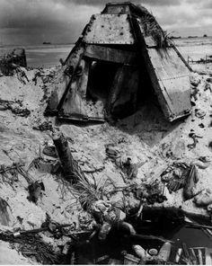 A wrecked Japanese steel pill box on Tarawa Island in the Kiribati, formerly the Gilbert Islands