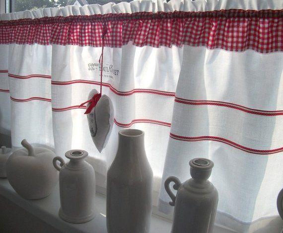 Scheibengardine Mit Leinenborte Deko Herz Im Franzosischen Flair Curtains House Home Decor