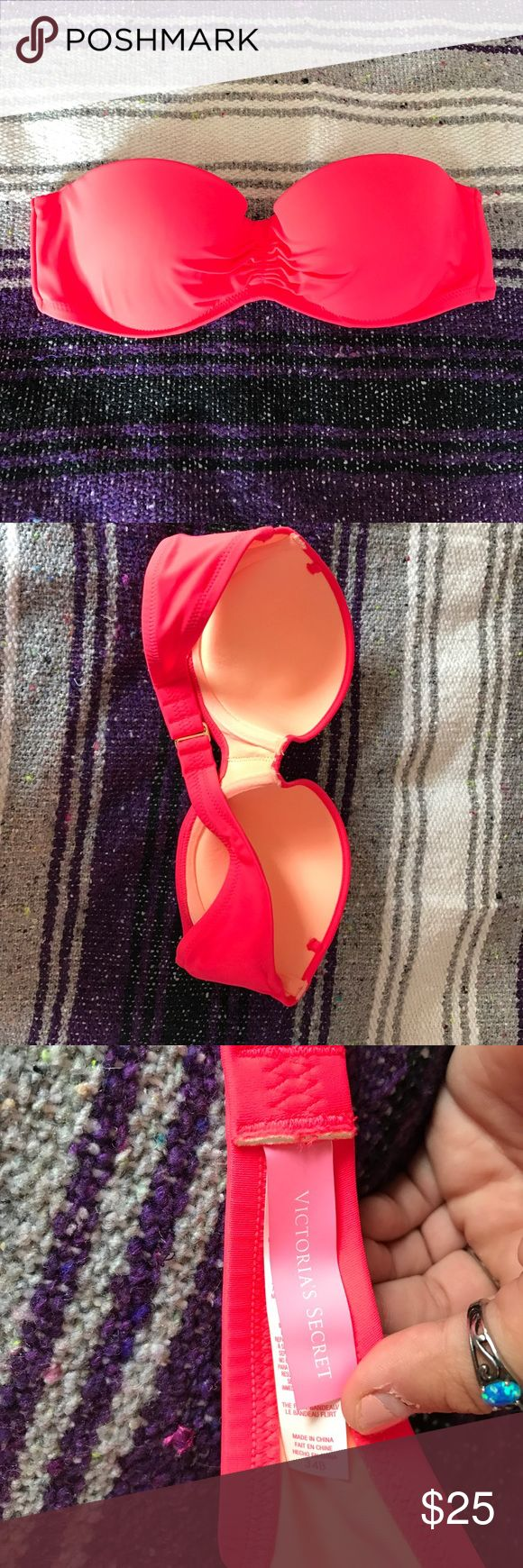 victoria secret push-up strapless swim suit top color: bright pink/coral. size is a 34 B cup. never worn. new without tags. Victoria's Secret Swim Bikinis