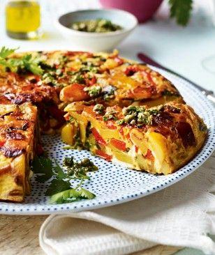 Gemüsetortilla mit Feta