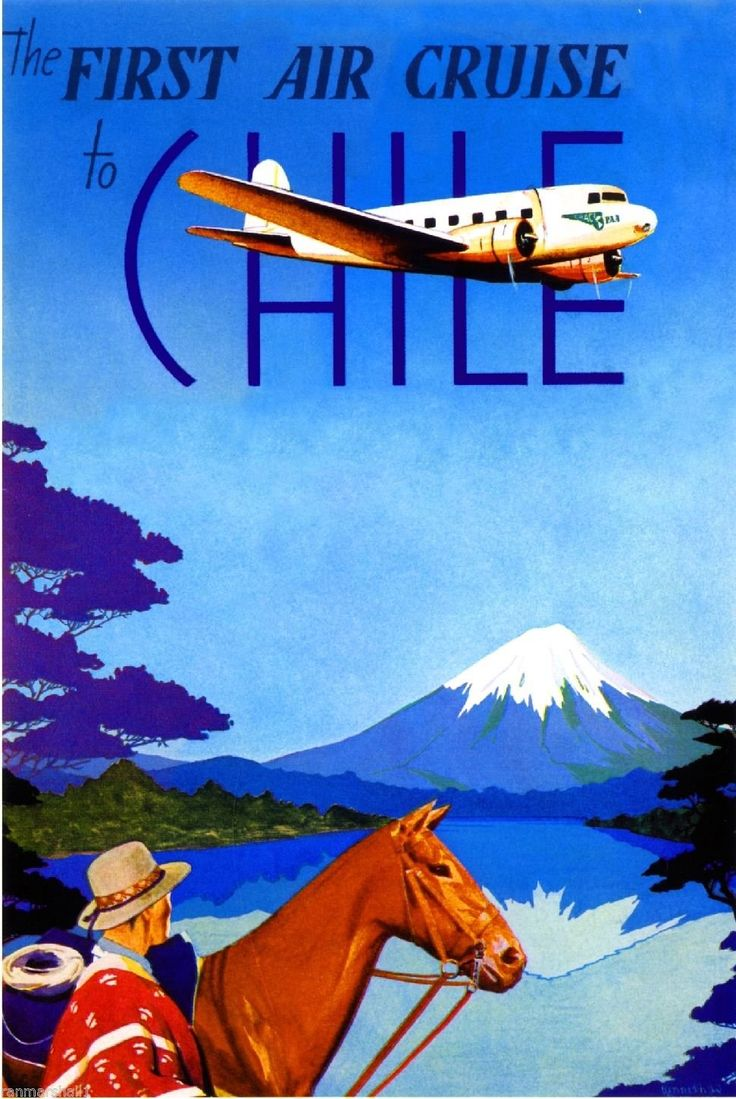 First Air Cruise to Chile South America Vintage Travel Advertisement Art Poster