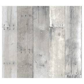 Devine Color Peel and Stick Wallpaper Reclaimed Wood Pattern - Mirage Grey