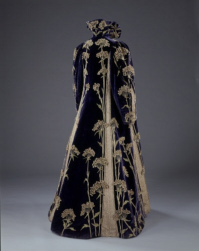 Woman`s coat. Deep purple velvet with cream embroidered silk. England, c.1895