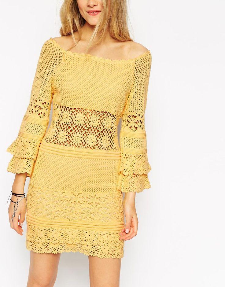 Image 3 ofASOS Crochet Dress With Off Shoulder