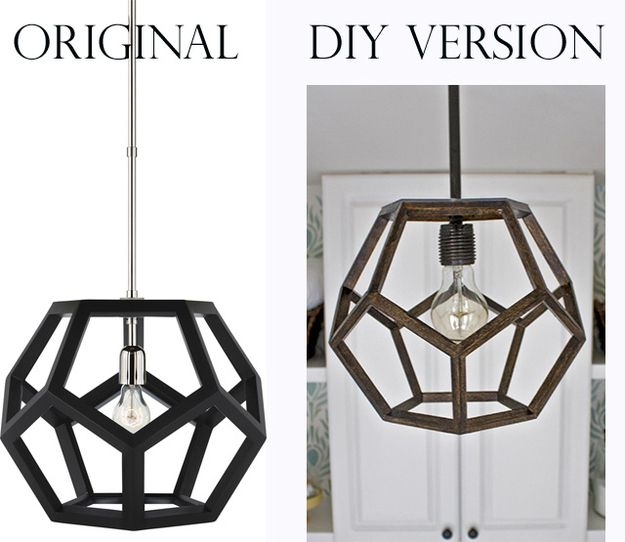 Knock off this amazing Ralph Lauren decahedron pendant light fixture. | 35 Money-Saving Home Decor Knock-Offs