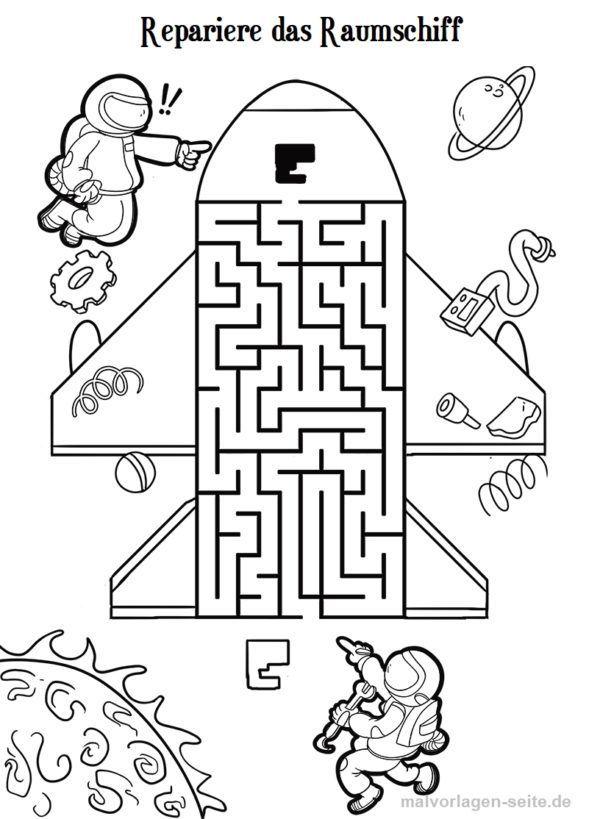 Irrgarten Labyrinth Fur Kinder Kostenlose Ausmalbilder Astronauten Geburtstag Labyrinthe Fur Kinder