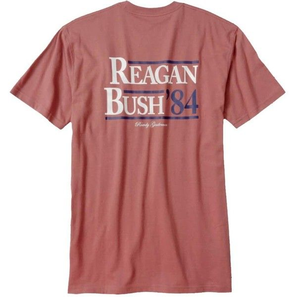Rowdy Gentleman Reagan Bush '84 Pocket Tee ($10) ❤ liked on Polyvore featuring tops, t-shirts, red top, red t shirt, pocket t shirts, pocket tops and pocket tees