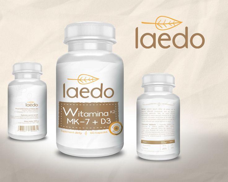 Projekt logo dotyczy marki Laedo, która jest częścią nazwy firmy. Zajmuje się sprzedażą suplementów diety oraz produktów związanych ze zdrowym sposobem odżywiania, logo nawiązuje do profilu działalności.   Projekt etykiety natomiast dotyczy suplementu: Witamina K2 MK-7 + D3