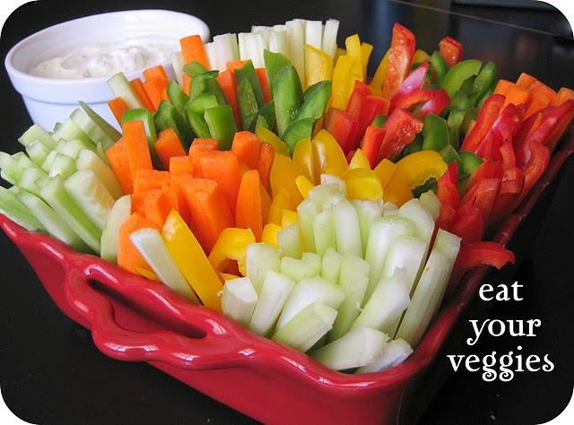 """Awesome way to make your veggie tray look """"pretty""""  Love this!"""