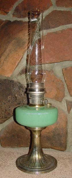 Corinthian jadite kerosene lamp....rare