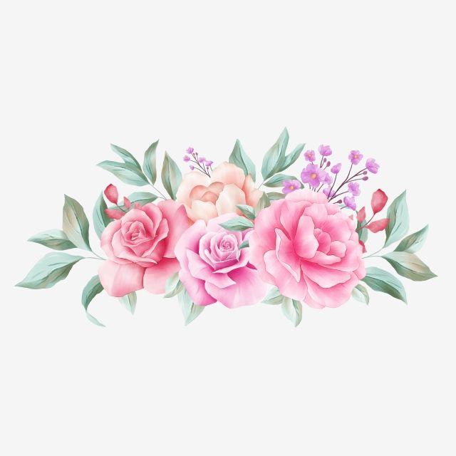 Horizontal Floral Arrangement For Wedding Invitation Card Composition Flower Watercolor White Png Transparent Clipart Image And Psd File For Free Download Clipart De Flores Aquarela Floral Molduras Para Convites De Casamento