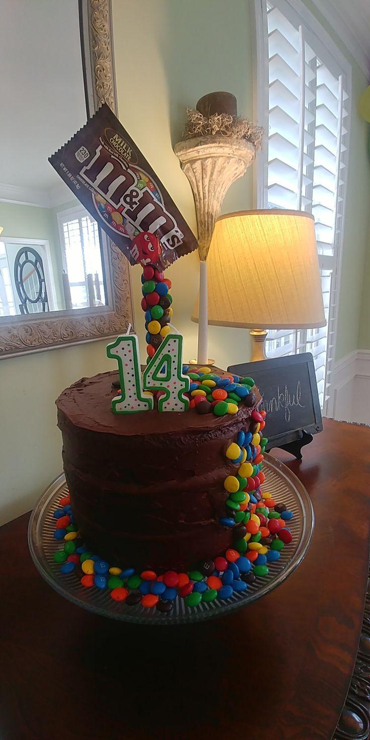 Ben's 14th birthday cake mnms candy teenboybirthday