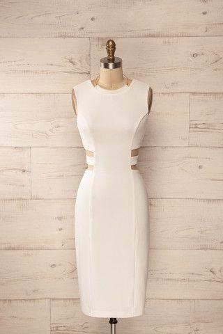 Sibay Light - White cut-outs golden halter midi dress
