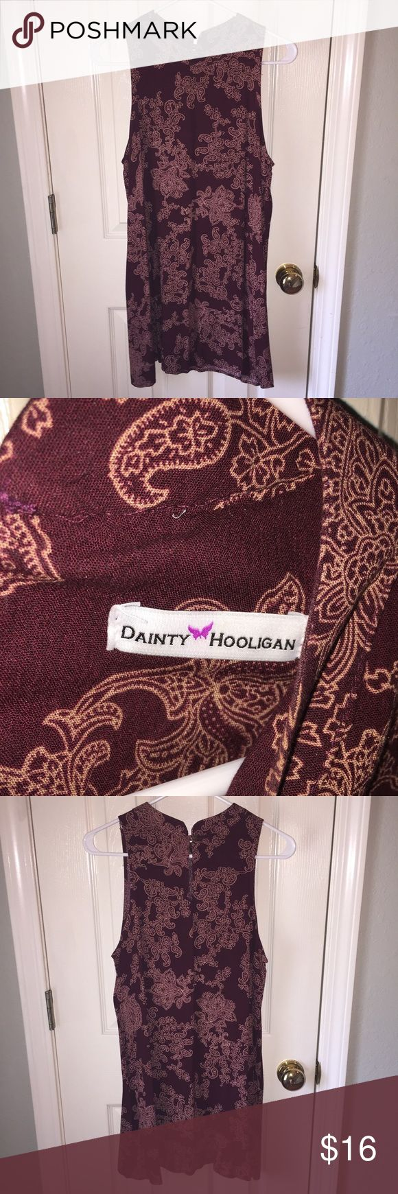 DAINTY HOOLIGAN maroon dress Floral design. High neckline. Breezy!!! I wore this dress to a country concert and it was perfect! Love it. Free People Dresses Mini