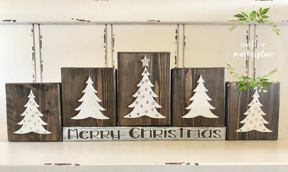 Christmas Wood Block Set Primitive