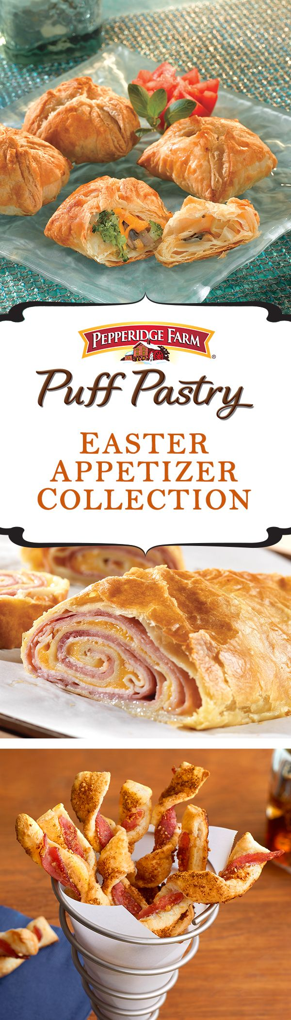 Puff Pastry Easter Appetizer Recipe Collection. Whether you're hosting Easter dinner or celebrating at a friend's house check out this list full of fabulous Easter appetizers to serve. Everyone will spring to the table for these Puff Pastry treats like Brown Sugar and Bacon Twists, Puffs Primavera and Ham and Cheese Stromboli.