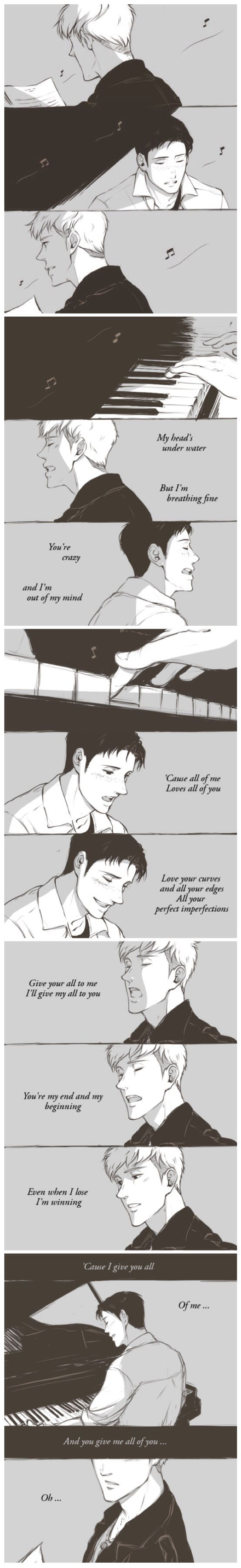 """SNK-""""Sing for them"""" (College/Reincarnation Au where Marco sings sad love songs for someone he can't remember and Jean tries to hide the past and his regret.)"""