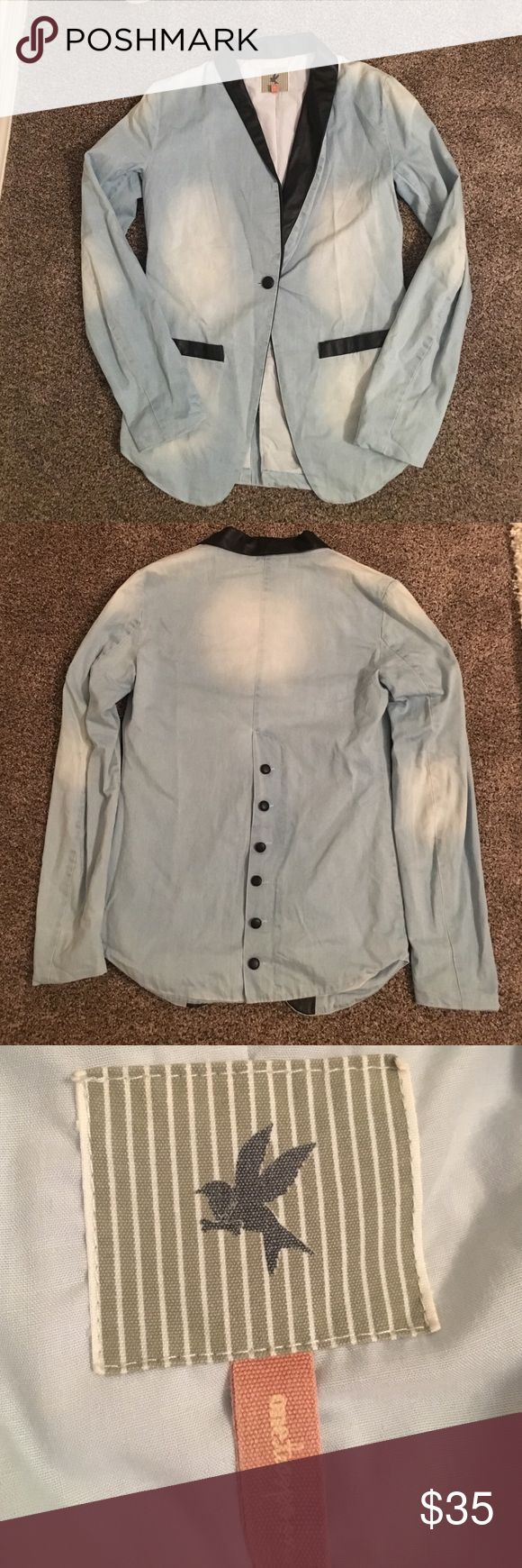 One Teaspoon Chambray blazer size small One teaspoon boyfriend chambray and black leatherette accents size small in great condition! Blazer makes an amazing addition to any wardrobe! One Teaspoon Jackets & Coats Blazers