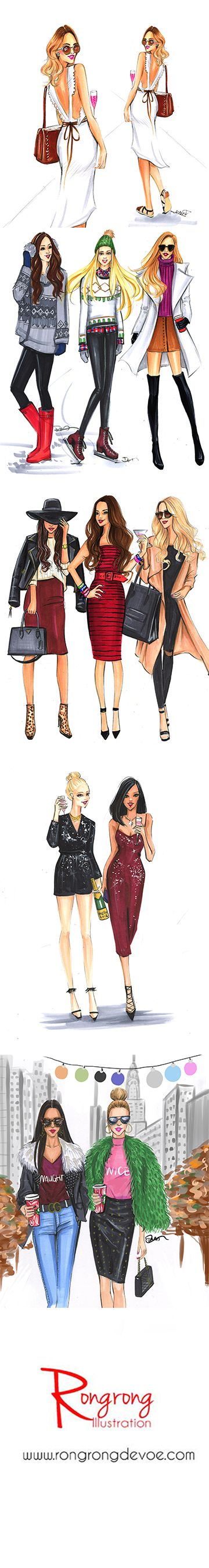 fashion illustrations by Rongrong DeVoe, inspired by street fashion. Check out her Instagram for more fashion sketches